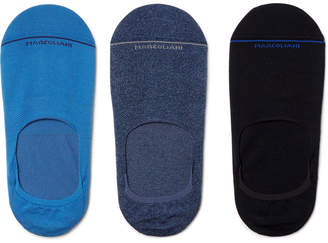 Marcoliani Three-Pack Invisible Touch Stretch Pima Cotton-Blend No-Show Socks $60 thestylecure.com