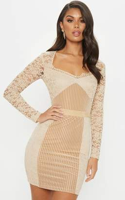 PrettyLittleThing Rose Lace Velvet Insert Bodycon Dress
