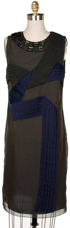 PROENZA SCHOULER Pleated Shift Dress with Hand Jeweled Neckline