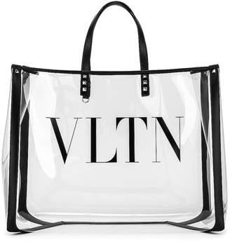 Valentino VLTN Grande Plage Tote in Transparent & Nero | FWRD