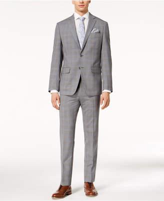 Closeout! Tallia Orange Men's Slim-Fit Gray/Blue Plaid Suit