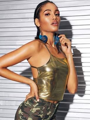 Shein Backless Metallic Cami Top