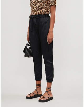 Frame Drawstring-waist high-rise satin harem trousers