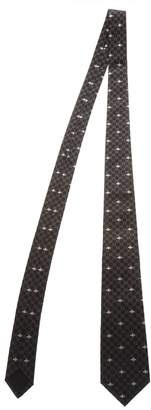 Gucci Gray Silk Jacquard Bee Logo Tie