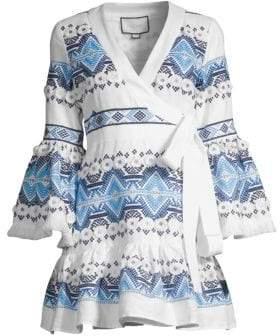 Alexis Cheryl Embroidered Wrap Mini Dress