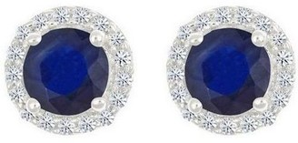 Premier Round 1cttw Sapphire & Diamond Halo Stud Earrings, 14