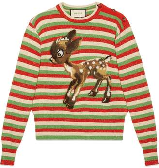 Gucci Wool lurex striped sweater with fawn