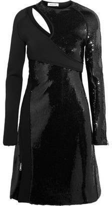 Thierry Mugler Cutout Sequined Bonded Jersey Mini Dress