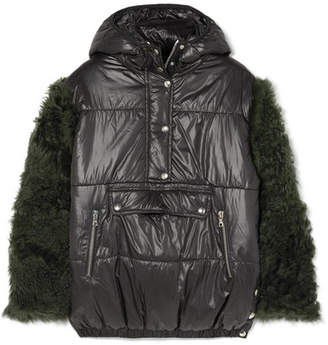 Sandy Liang Gordo Shearling-paneled Quilted Shell Jacket - Black