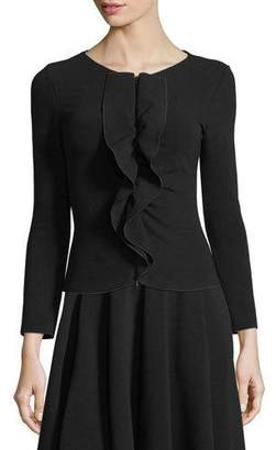 Emporio Armani Zip-Front Knit Jacket with Ruffle Frill