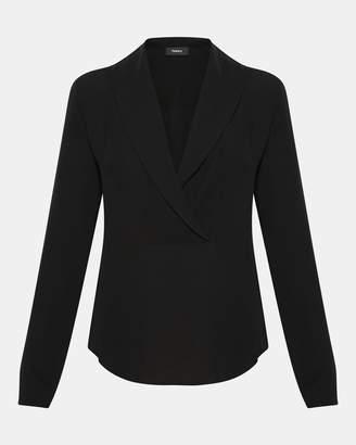 Theory Silk Shawl Collar Long-Sleeve Top