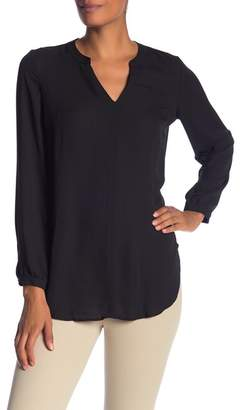 Adrianna Papell Long Sleeve Crepe Tunic Blouse