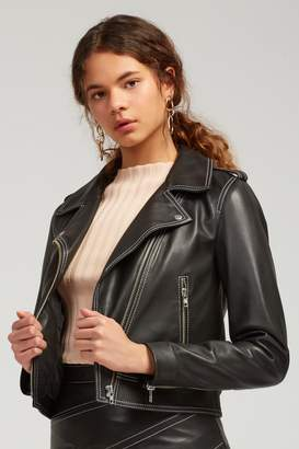 C/Meo COLLECTIVE LESSON LEARNT LEATHER JACKET black and ivory