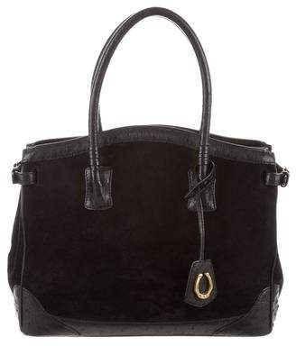 Cece Cord Ostrich-Trimmed Top Handle Bag