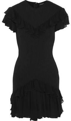 Giambattista Valli Ruffled Chiffon-trimmed Ribbed Stretch-wool Mini Dress