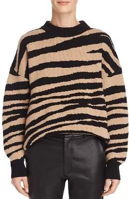 Anine Bing Cheyenne Zebra-Print Cashmere Sweater