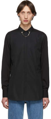 Neil Barrett Black Threaded Chain Collar Shirt