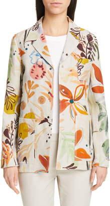 Lafayette 148 New York Jolisa Floral Print Linen Jacket