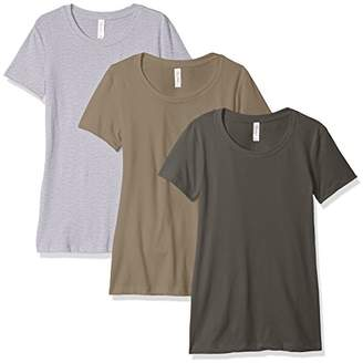 Blend of America Clementine Apparel Women's 3-Pack Short Sleeve T Shirt Easy Tag V Neck Soft Cotton Blend Undershirts (1510)