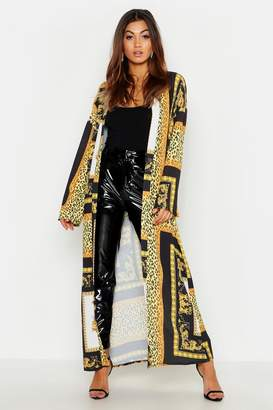 boohoo Woven Chain Print Oversized Maxi Kimono