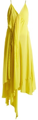 Balenciaga Round Neck Draped Silk Crepe Dress - Womens - Light Yellow