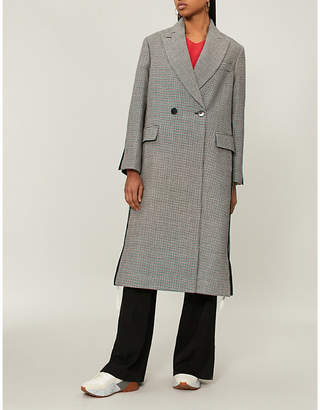 Stella McCartney Contrast-back dogstooth wool coat