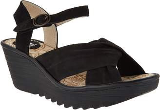 Fly London Leather Ankle Strap Wedge Sandals - Yesh