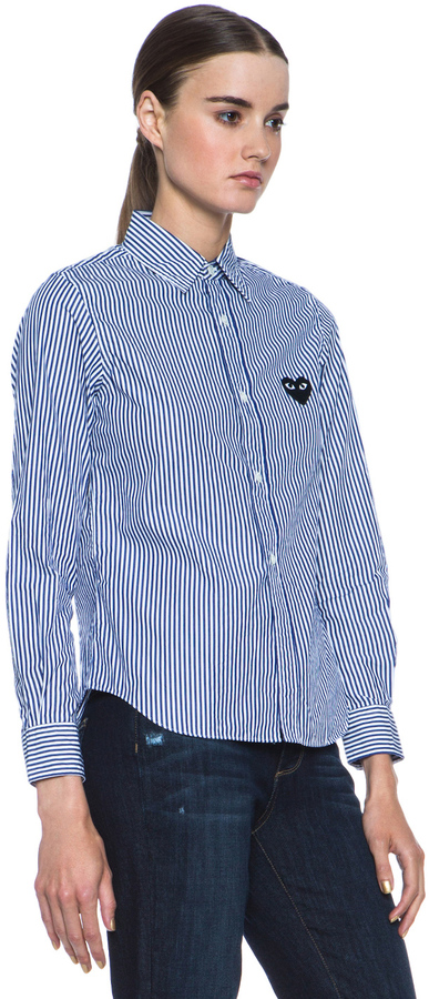 Comme des Garcons Cotton-Blend Stripe Black Emblem Button Down