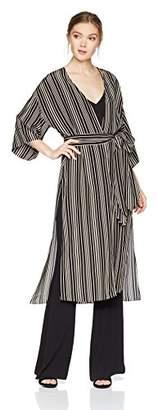 Halston Women's Short Sleeve Long Kimono Jacket