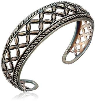 Marquis Sterling Bali Inspired Open Roped Edge Design Cuff Bracelet