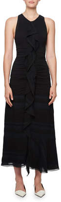 Proenza Schouler Long Striped Cloque Dress w/ Chiffon Overlay