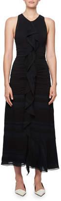 Proenza Schouler Long Striped Cloque Dress w/ Chiffon Overlay