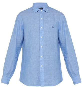 Polo Ralph Lauren Logo Embroidered Spread Collar Linen Shirt - Mens - Blue