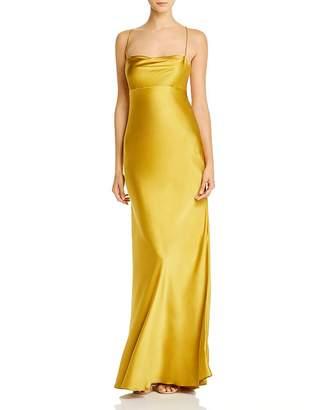 Mason by Michelle Mason Cowl-Neck Bias-Cut Silk Gown