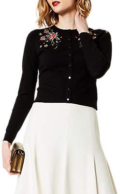 Karen Millen Floral Cardigan, Black