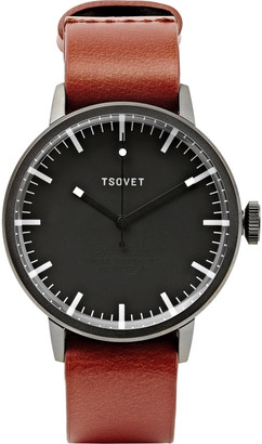 Tsovet SVT-SC38 38mm Stainless Steel and Leather Watch $340 thestylecure.com