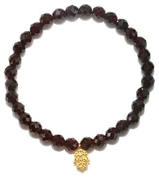 Satya Jewelry Womens Garnet Gold Hamsa Stretch Bracelet