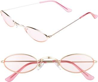 BP 48mm Mini Wide Oval Metal Sunglasses