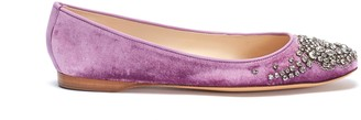 Emma Hope Glass crystal velvet ballet flats