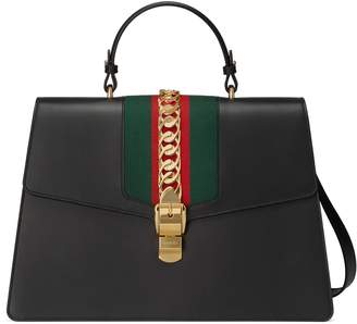 Gucci Sylvie leather maxi top handle bag