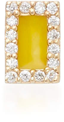 Alison Lou M'O Exclusive Rectangle 14K Yellow Gold and Diamond Single Stud