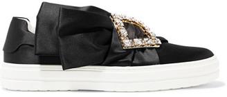 Roger Vivier Sneaky Viv Crystal-embellished Satin Slip-on Sneakers - Black