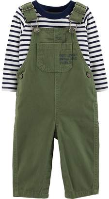 Carter's Baby Boy Striped Tee & Twill Overalls Set
