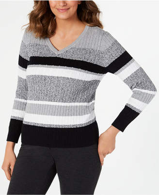 Karen Scott Petite Cotton Striped Cable-Knit Sweater