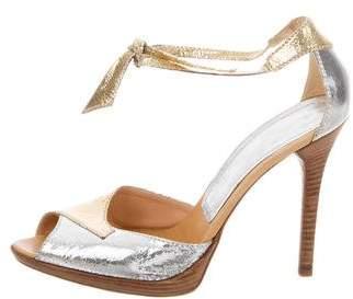 Casadei Metallic Leather Sandals