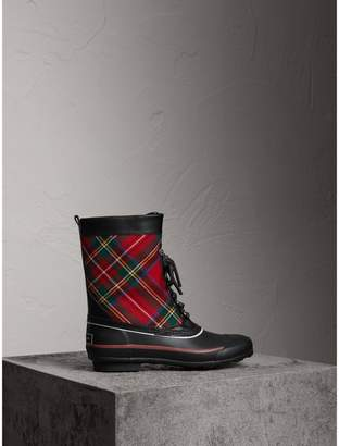Burberry Lace-up Tartan Wool and Rubber Rain Boots