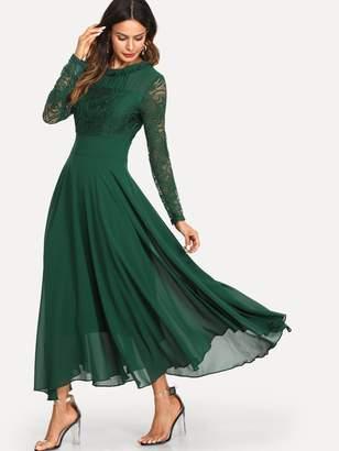 Shein Frill Neck Lace Bodice Flowy Dress