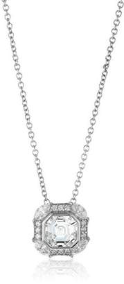 "Swarovski Amazon Collection Platinum-Plated Sterling Silver Zirconia Celebrity""Pippa"" Asscher Cut Antique Pendant Necklace"