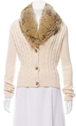 Michael Kors Cashmere Fur-Trimmed Cardigan
