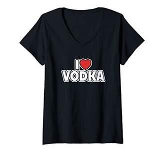 Womens I Love Vodka V-Neck T-Shirt